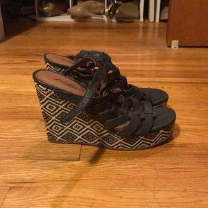 Lucky Brand black boho wedge sandals